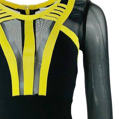 see through detail dress yellow